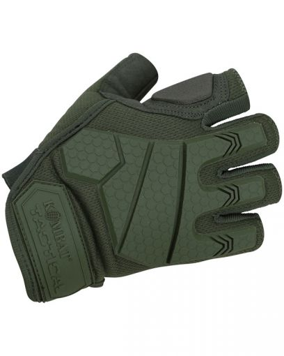 Kombat UK Alpha Fingerless Tactical Gloves - Olive Green