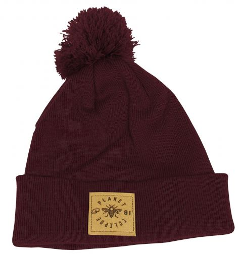 Eclipse Worker Pom Beanie - Burgundy